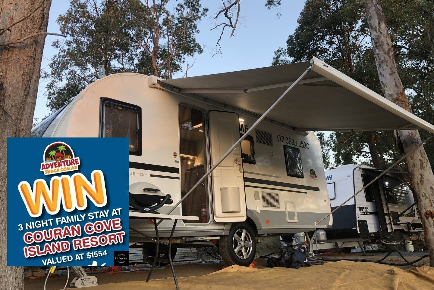 Lightweight full size family caravan for hire Brisbane - Cover Image