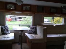 American slide out caravan available near Bath in private field with fishing. - Image #6